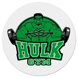 """Коврик для мышки (круглый) """"Hulk Gym"""" - marvel, мстители, марвел, сила, халк"""