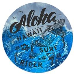 "Коврик для мышки (круглый) ""Aloha"" - море, серфинг, гавайи, aloha, алоха"