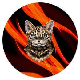 """Коврик для мышки (круглый) """"Без названия"""" - кот, животные, котенок, огонь, пламя"""