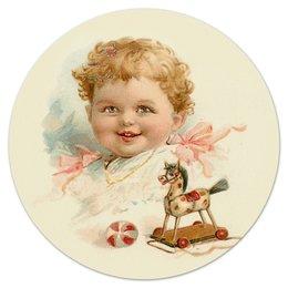 """Коврик для мышки (круглый) """"Маленький мальчик с игрушками"""" - ретро, мальчик, игрушки, ребёнок, старинный"""