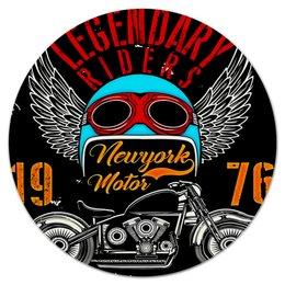 """Коврик для мышки (круглый) """"Legendary riders"""" - крылья, мотоцикл, скорость, транспорт, гонщик"""