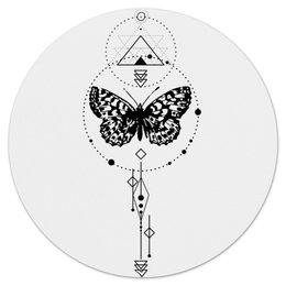 "Коврик для мышки (круглый) ""Круглый Butterfly abstract geometry"" - tattoo, насекомые, геометрия, минимализм, абстракция"