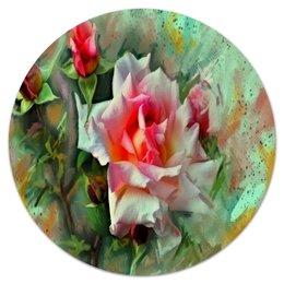 """Коврик для мышки (круглый) """"Цветущие розы"""" - цветы, весна, цветочки, розы, букет"""