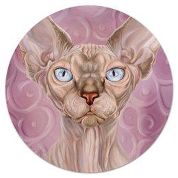 """Коврик для мышки (круглый) """"Сфинкс"""" - портрет, кошки, авторское, сфинкс, породы"""