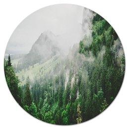 "Коврик для мышки (круглый) ""Туманные горы"" - горы, скалы, природа, лес, туман"
