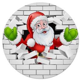 """Коврик для мышки (круглый) """"Санта Клаус"""" - новый год, санта клаус, 2019"""