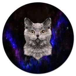 """Коврик для мышки (круглый) """"Без названия"""" - кот, звезды, котенок, космос, коты в космосе"""