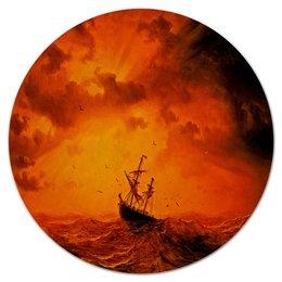 """Коврик для мышки (круглый) """"Шторм"""" - оранжевый, море, волны, корабль, шторм"""