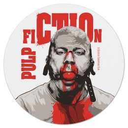"""Коврик для мышки (круглый) """"Pulp Fiction (Брюс Уиллис)"""" - тарантино, криминальное чтиво, pulp fiction, брюс уиллис, культовое кино"""