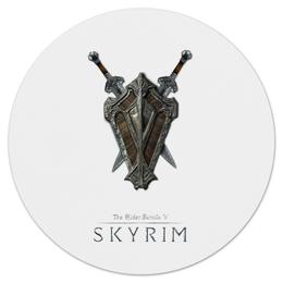"""Коврик для мышки (круглый) """"Skyrim"""" - в подарок, фентези, оружие, скайрим"""