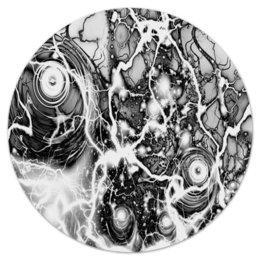 """Коврик для мышки (круглый) """"черно-белый узор"""" - космос, пятна, краски, абстракция, молния"""