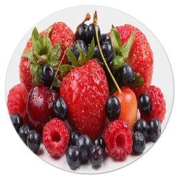 """Коврик для мышки (круглый) """"Ягодки"""" - лето, еда, фрукты, ягоды, клубника"""