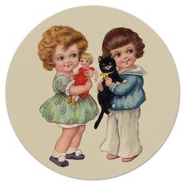 """Коврик для мышки (круглый) """"Две девочки и кот."""" - кот, игра, ретро, рисунок, дети"""