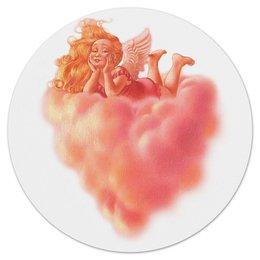 """Коврик для мышки (круглый) """"Ангел на облаке"""" - сердце, ангел, облако, девочка"""