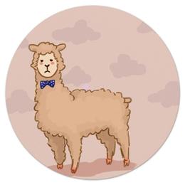 """Коврик для мышки (круглый) """"милая лама"""" - арт, смешные, прикольные, в подарок"""
