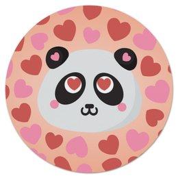 """Коврик для мышки (круглый) """"Влюбленная панда"""" - любовь, панда, сердечки"""