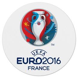 "Коврик для мышки (круглый) ""UEFA Euro 2016"" - футбол, football, евро, чемпионат, гол"