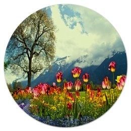 """Коврик для мышки (круглый) """"Тюльпаны"""" - цветы, природа, горы, пейзаж, тюльпаны"""