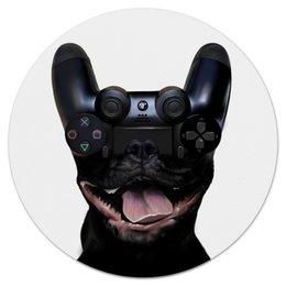 "Коврик для мышки (круглый) ""Let's play"" - game, dog, playstation, play, ps4"