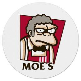 """Коврик для мышки (круглый) """"Симпсоны у Мо"""" - гомер, simpsons, пиво, симпсоны, kfc"""