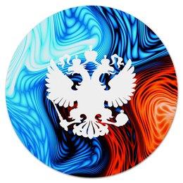 """Коврик для мышки (круглый) """"Краски"""" - россия, герб, russia, орел, флаг"""