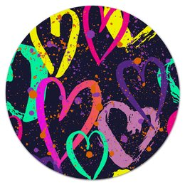 "Коврик для мышки (круглый) ""Сердечки"" - сердце, любовь, узор, сердечки, день валентина"