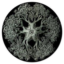 """Коврик для мышки (круглый) """"Ophiodea Эрнста Геккеля"""" - картина, красота форм в природе, биология, черно-белый, эрнст геккель"""