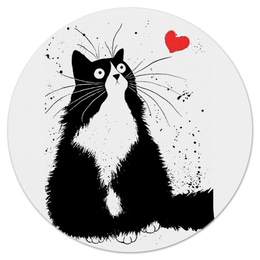 """Коврик для мышки (круглый) """"Кот, мечтающий о Любви"""" - любовь, кот, мечта"""