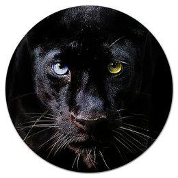 """Коврик для мышки (круглый) """"ПАНТЕРА. ЖИВАЯ ПРИРОДА"""" - хищник, животные, фото, стиль эксклюзив креатив красота яркость, арт фэнтези"""