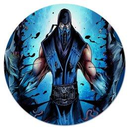 """Коврик для мышки (круглый) """"Mortal Kombat"""" - игры, синий, mortal kombat, саб зиро, компьютерные"""