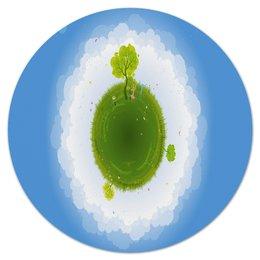 """Коврик для мышки (круглый) """"Земля"""" - земля, планета, люди, деревья, трава"""