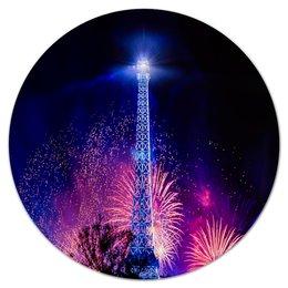 """Коврик для мышки (круглый) """"Эйфелева башня"""" - праздник, здания, огни, эйфелева башня, салют"""