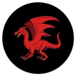 """Коврик для мышки (круглый) """"дракон"""" - крылья, животные, дракон, dragon, динозавр"""