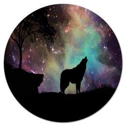 """Коврик для мышки (круглый) """"Хищный зверь"""" - хищник, животные, снег, природа, волк"""