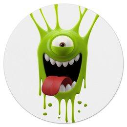 """Коврик для мышки (круглый) """"Зеленый монстр"""" - конфета, лизун, пятно, мульт, язык"""
