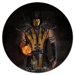 """Коврик для мышки (круглый) """"Mortal Kombat (Scorpion)"""" - воин, боец, скорпион, mortal kombat, scorpion"""