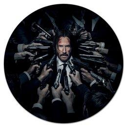 "Коврик для мышки (круглый) ""Джон Уик"" - актер, боевик, убийца, киану ривз, john wick"