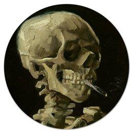 """Коврик для мышки (круглый) """"Череп с горящей сигаретой (Винсент Ван Гог)"""" - череп, картина, ван гог, живопись"""