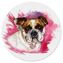 """Коврик для мышки (круглый) """"Бульдожка"""" - авторская, рисунок, собаки, бульдог, bulldog"""