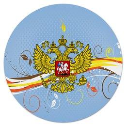 """Коврик для мышки (круглый) """"Узор цветов"""" - цветы, россия, герб, орел, хохлома"""