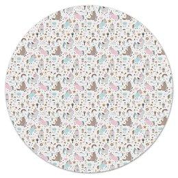 """Коврик для мышки (круглый) """"Единороги"""" - животные, лошадь, радуга, мульт, единорог"""