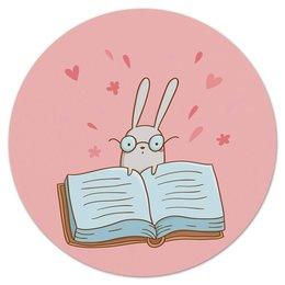 """Коврик для мышки (круглый) """"Умный кролик в очках"""" - заяц, сказка, книжка, кролик, умный"""