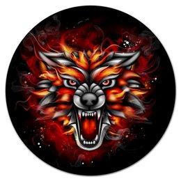 """Коврик для мышки (круглый) """"Wolf & Fire"""" - огонь, волк, fire, wolf"""
