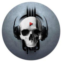 """Коврик для мышки (круглый) """"Череп"""" - череп, музыка, наушники, плей"""