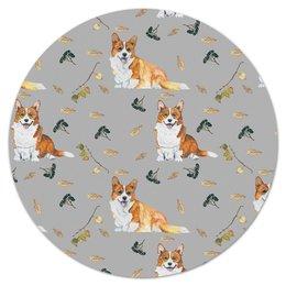 """Коврик для мышки (круглый) """"Осень и корги"""" - собака, рыжий, новыйгод, корги, вельшкорги"""
