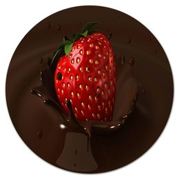 """Коврик для мышки (круглый) """"Клубника в шоколаде"""" - еда, ягоды, сладости, клубника, шоколад"""