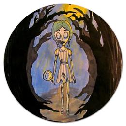 """Коврик для мышки (круглый) """"девочка в лесу"""" - арт, рисунок"""