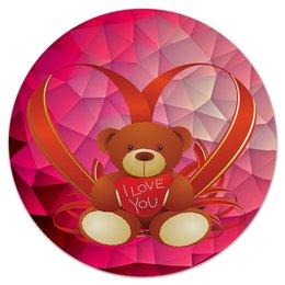 """Коврик для мышки (круглый) """"Плюшевый мишка"""" - сердце, любовь, медведь, мишка, игрушка"""