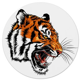 """Коврик для мышки (круглый) """"Зверь"""" - тигр, животные, зверь, хищник, дикий"""