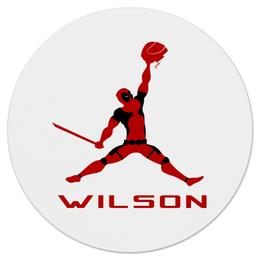 "Коврик для мышки (круглый) ""Jordan Wilson"" - marvel, deadpool, баскетбол, дэдпул, chicago bulls"